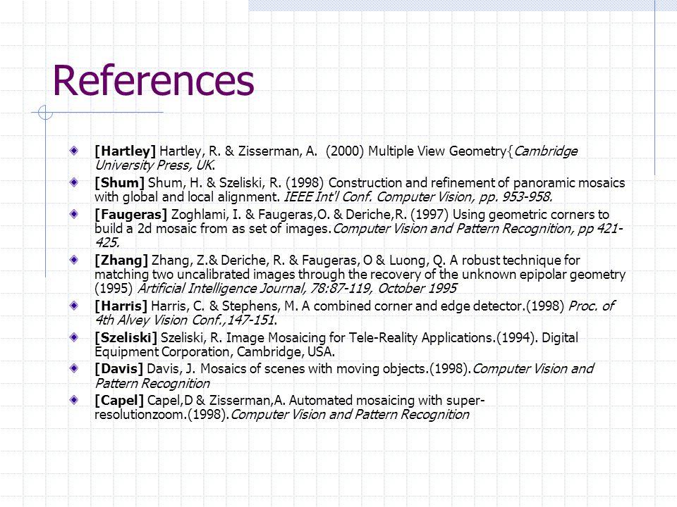References [Hartley] Hartley, R. & Zisserman, A. (2000) Multiple View Geometry{Cambridge University Press, UK.